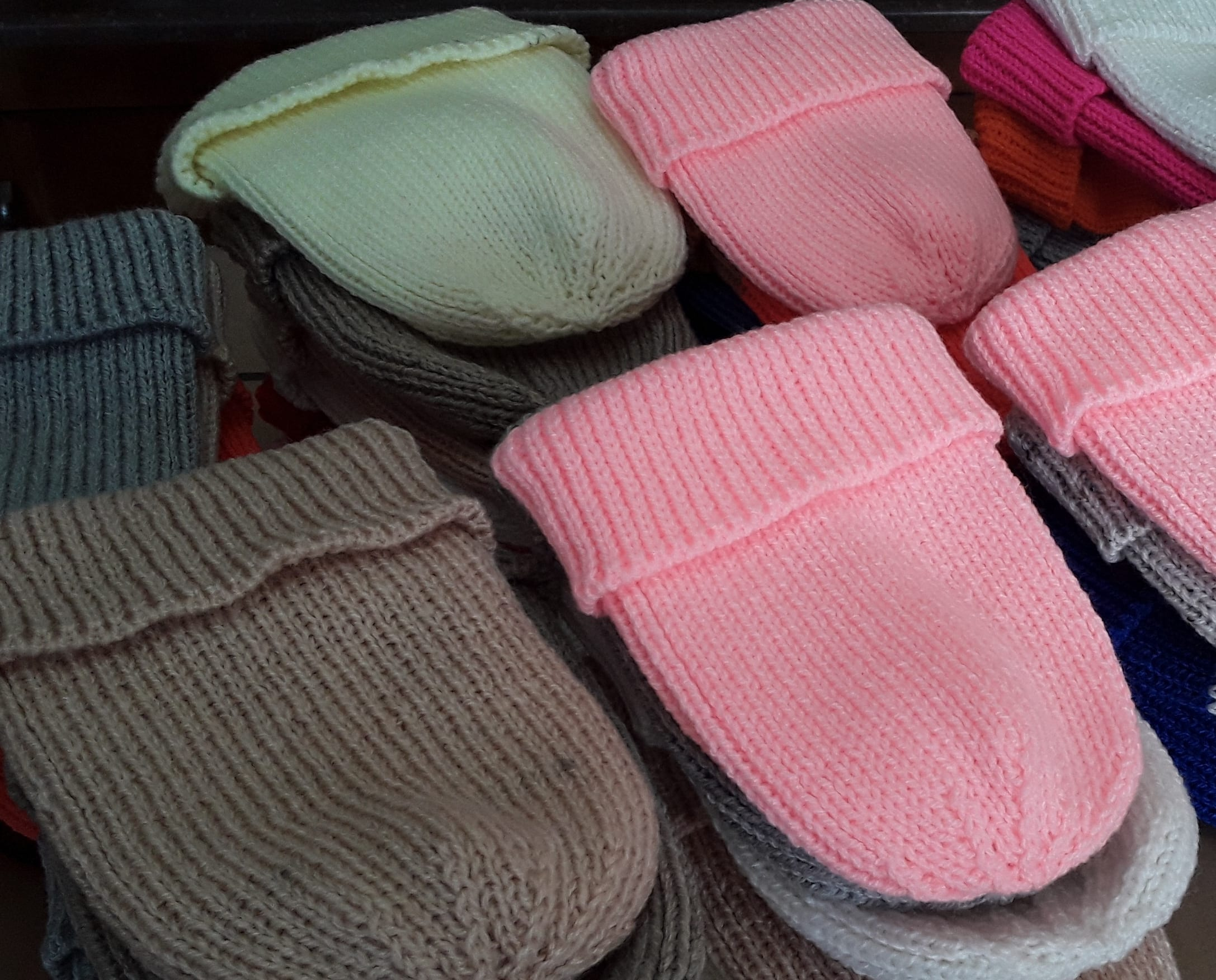 Beanies knitted and donated by Mrs Jacky Collingnon